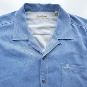 Tommy Bahama Mens Silk Blend Blue Shirt EUC Size L